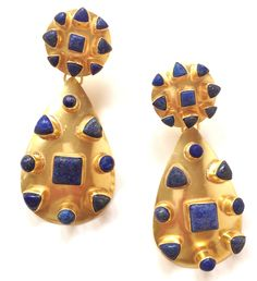 Vezoora Double Gold Earrings - Lapis