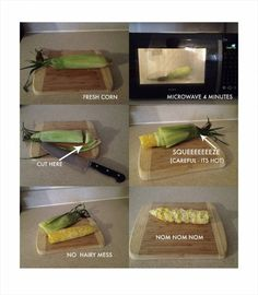 Quick way to prepare ear of corn in microwave diagram w/ no hairy mess!