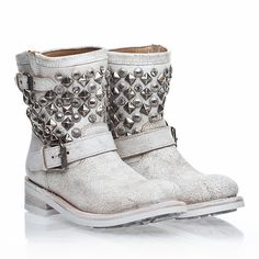 ASH Womens Titanic Boot White Cracked Leather/Antiqued Studs  so cool and fashion ! only sale:$297.00