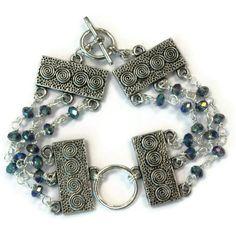 Blue Bracelet Silver Jewelry Iridescent Crystal by jewelrybycarmal, $35.00