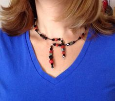 Memory Beaded Necklace Choker Vintage Faceted by dreamtimeart