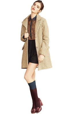 from Sessun.com - So classy!    MAKING PLANS  shirt short coat SUNNYSIDE  DUSTY  shoes BOYLE