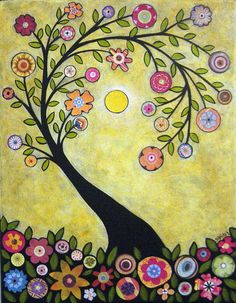 Smell the Flowers Summer Folk Art Tree Karla Gerard Canvas ACEO - Art Card Print. $5.99, via Etsy.