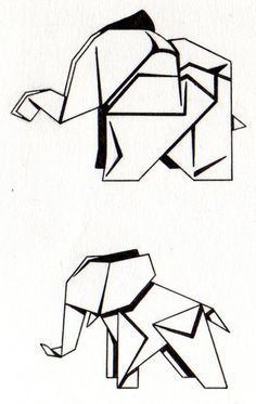 Couple of tattoo designs I did for a friend a while back based off of actual origami artwork. Origami Tattoo, Origami Elephant Tattoo, Elephant Tattoos, Geometric Elephant Tattoo, Trendy Tattoos, Mini Tattoos, Small Tattoos, Elephant Canvas Art, Small Elephant