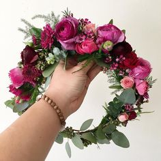 Blush, purple & fuscia Flower Crown with two-varietal eucalyptus and plumosa www.thecrowncollective.co