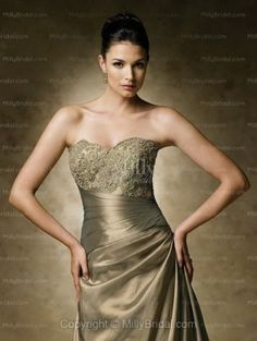 A-line Sweetheart Gold Applique Taffeta Long Sleeves Floor-length Mother of the Bride Dress