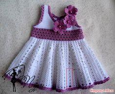 Вязаные платья для маленьких девочек + схемы юбок крючком ЗДЕСЬ http://razpetelka.ru/vyazhem-detkam/platya-ot-pusi.html/  #вязаные_платья_raz