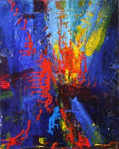 ARTFINDER: Distraction from Blue by Nestor Toro - Shades of blue, red and with yellow touches. Part of the distraction series, this painting is very layered with bold palette knife strokes and gesso backgrou...