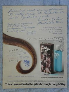 Here's the vintage 1972 Clairol Long & Silky ad.