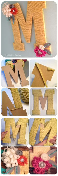 pennants, posies and pom poms - diy yarn letter adorned with felt flowers tutorial, whimsical nursery decor