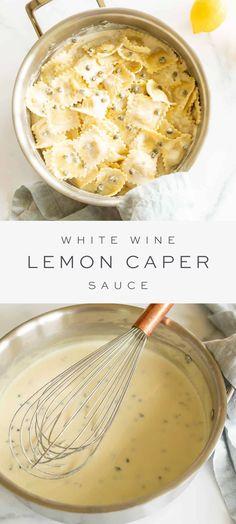 Lemon White Wine Sauce, Pasta With Lemon Sauce, Wine Pasta Sauce, Lemon Caper Sauce, White Sauce Pasta, Lemon Pasta, Vegetarian Recipes, Cooking Recipes, Homemade Sauce