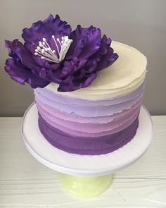 Ombré buttercream lines...love this purple! #purple #ombre #cake #birthdaycake