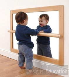 Pull Up Baby Mirror 25 Montessori Wooden Baby Toys by HappyTreeStore Playroom Montessori, Baby Playroom, Montessori Infant, Maria Montessori, Baby Spiegel, Baby Mirror, Infant Classroom, Crawling Baby, Baby Bedroom