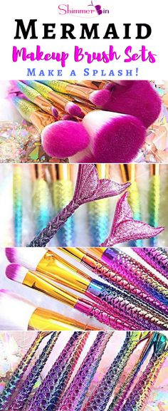 Mermaid makeup brush sets! Time for you to make a splash with 6 colorful styles to choose from! High-quality mermaid makeup brushes. Cruelty-free and will fill your every need. Get yours now while they last!