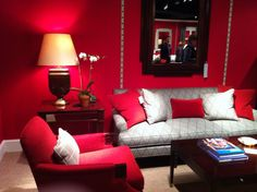 Never go wrong with red! Talented Alexa Hampton designed new fab furniture for Hickory Chair.  2012 Fall Market Trend: Grosgrain ribbon detail  330 N. Hamilton St. #hpmkt #stylespotters