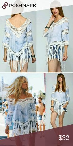 Tie dyed blue/white crochet fringed Large cute! New says Large fits like a medium in the arms. 40inches chest wide Other