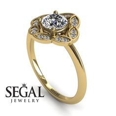 Princess Ring Diamond Ring- Lucy no. 3 White Gold Engagement Ring by Segal JewelryWhite Gold Engagement Ring by Segal Jewelry Unique Diamond Engagement Rings, Classic Engagement Rings, Antique Engagement Rings, Antique Rings, Halo Engagement, Engagement Ring Settings, Engagement Gifts, Diamond Rings, Diamond Jewelry