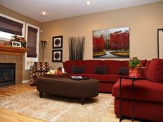 Red and brown living room red couch living room together with pine laminate wood flooring brown . red and brown living room Red Couch Living Room, Red Living Room Decor, Elegant Living Room, Home Decor Bedroom, Living Room Designs, Bedroom Colors, Living Rooms, Rosa Sofa, Room Color Schemes