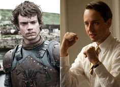 Theon Greyjoy & Pete Campbell: Resentful aristocrats with serious family baggage and a constant need to assert their manhood. They can be impetuous, spoiled brats, but we often pity them as well.