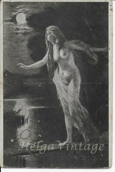Vintage Russian artistic erotic/nude postcard, lady by the lake in the moonlight Pin Up Girl Vintage, Vintage Art, Girls In Love, Pin Up Girls, Russian Art, Vintage Postcards, Female Art, Mermaids, Moonlight