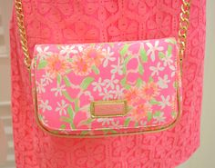 Lilly Pulitzer Spring '13- Party Crossbody in Fiesta Pink Everything Nice Small