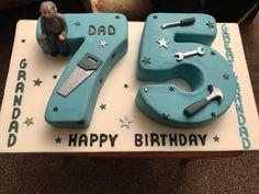 75th grandad birthday cake with fondant tools!