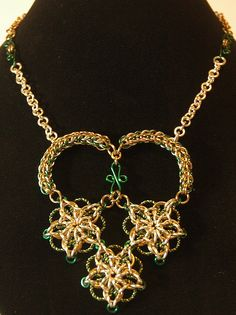 Celtic Stars Hearted Necklace - unique chainmaille