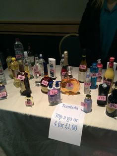 Bottle tombola, range from toiletries, alcohol, pop, sauces