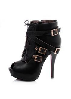 European Style Buckle And Lace Up Design Peep Toe Black High Heel Ankle Boots with cheap wholesale price, buy European Style Buckle And Lace Up Design Peep Toe Black High Heel Ankle Boots at wholesaleitonline.com !