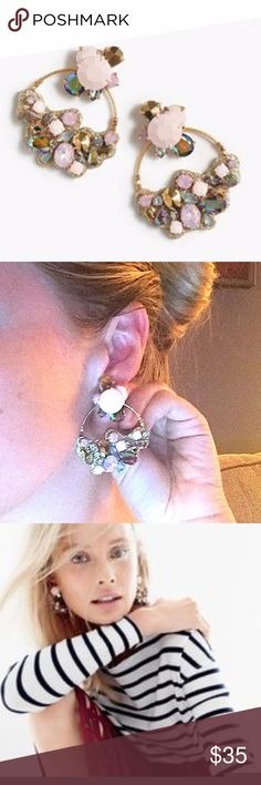 """J.Crew Cirque Statement Earrings A little pink, a little edgy glitter - these will be your fav go-to earrings. I wore w/ a white oxford and jeans. They're cute w/ just about anything!  Condition: Worn once.  Length: 2 1/2"""" J.Crew Jewelry Earrings"""