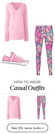 """""""pink casual"""" by fashionabletigress on Polyvore featuring adidas Originals, Converse and Lands' End"""