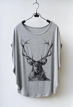 Deer - Women Tank Top Oversize Shirt Batwing in Grey