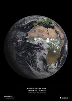 MSG-3, launched on July 5 by the European Space Agency, captured its first picture of earth with its Spinning Enhanced Visible and Infrared Imager (SEVIRI) on August 7, 2012. This satellite helps provide better weather coverage and short-range forecasts for Europe and Africa, especially in the case of rapidly developing storms or fog. It can scan Earth's atmosphere every 15 minutes in 12 different wavelengths, to track cloud development, solar and infrared energy.