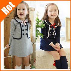 nuevas 2014 muchachas del vestido del arco ocasional doble botonadura princesa otoño invierno niños vestidos de niña niños vestidos en Vestidos de Moda y Complementos en AliExpress.com | Alibaba Group