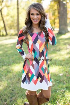 Geometric Love Long Sleeve Dress - The Pink Lily