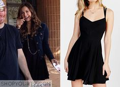 Elena Gilbert (Nina Dobrev) wears this black fit + flare dress in this episode of The Vampire Diaries.