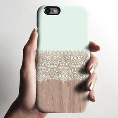 Mint lace wood iPhone 7 case, iPhone 7 Plus case S633 - Decouart - 2