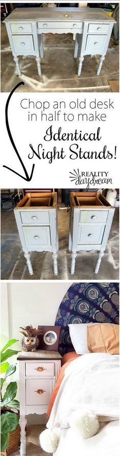 Old Desk Turned into two Night Stands.