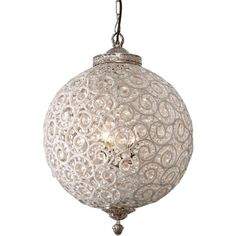 Ethan Allen Flowered Ball Chandelier (£310) ❤ liked on Polyvore featuring home, lighting, ceiling lights, lamps, furniture, light, detail, embellishment, glass lamp and flower chandelier