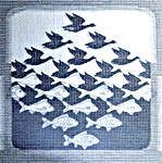 Click for more details of Sky and Water by M. C. Escher (cross-stitch kit) by Permin of Copenhagen