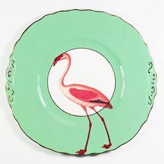 Fancy Flamingo Cake Plate por yvonneellen en Etsy