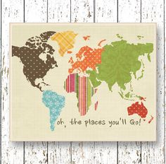 World map artwork quote Oh, the Places you'll Go! Dr Seuss Office art Family Room Living room Kids wall art blue green brown Home Decor