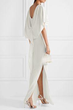 Halston Heritage - Cape-effect crepe de chine gown Halston Heritage, Gorgeous Wedding Dress, Beautiful Dresses, Miu Miu, Models, Top Designer Brands, Elegant, Fashion Advice, Dress Outfits