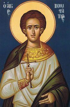 Boniface, Martyr of Tarsus Byzantine Icons, Byzantine Art, Gifts For Sailors, Greek Gifts, Happy Belated Birthday, Catholic Saints, Orthodox Icons, Animal Kingdom, Rome