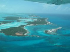 Shot from the airplane flying over the Exuma Cays - Bahamas