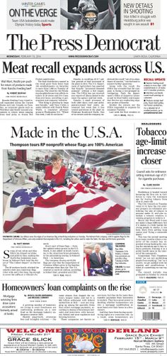 Press Democrat front page for Wednesday, Feb. 19, 2014