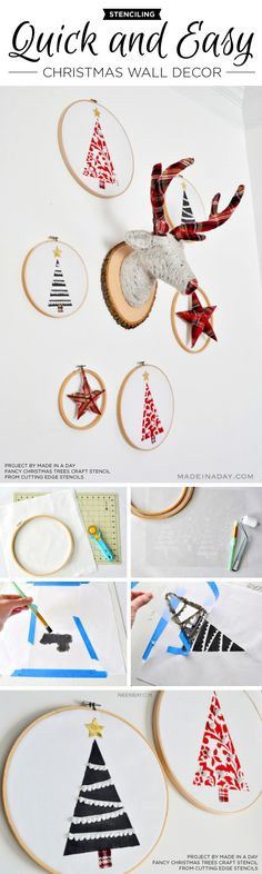 Cutting Edge Stencils shares DIY stenciled wall art using the Fancy Christmas Trees Craft Stencil. http://www.cuttingedgestencils.com/fancy-christmas-trees-craft-diy-holiday-craft-stencils.html