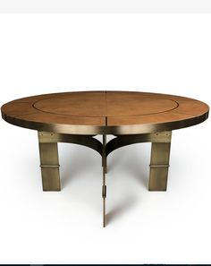 """CORSO - DINING TABLE DIA60"""" X H30"""". SHOWN IN BURNISHED BRASS & ROSE GOLD PARCHMENT AVAILABLE IN DIA 30"""" & 72"""""""