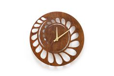 "WALL CLOCK - ""Spiral"" - 12"" Laser Carved Wood Clock with made in USA movement…"