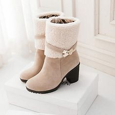 Women's Shoes Round Toe Chunky Heel Mid-Calf Boots with Zipper Buckle More Colors available - USD $ 29.99